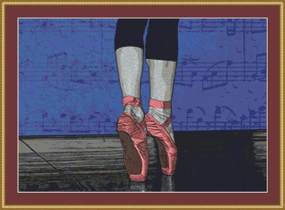 Ballet Shoes Cross Stitch Pattern /Digital PDF Files /Instant downloadable