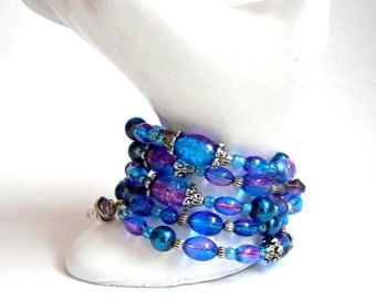 Mystical Cosmic Colors Bracelet Blue Purple Memory Wire Bracelet