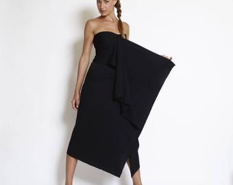 Modern party dress, black summer dress,sleeveless top, midi length dress, fit elegant dress, bridesmaid drape dress, prom dress, strapless