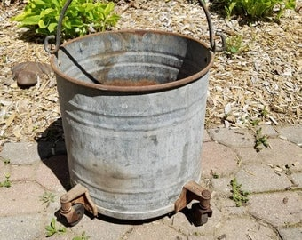 Vintage Galvanized Bucket Planter on Wheels  Farm Primitive