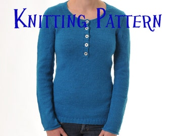 PDF Knitting Pattern - Henley Pullover, Seamless Sweater Knitting Pattern, Ladies Clothing Pattern, Top Down Knitting Pattern