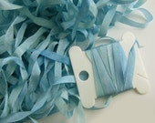 Hand Dyed Silk Ribbon - Embroidery - 4mm -  Needlecraft - Summer Skies -Blue