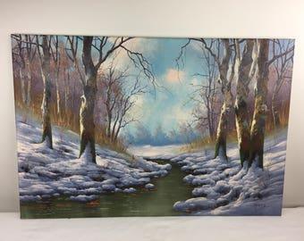 Original Oil On Canvas Signed Bela Gabris - Snowy Woods River- Winter Landscape - Hungarian Artist Fine Wall Art