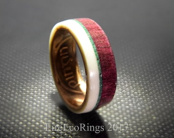 Unique wooden wedding rings Irish coin ring with purple heart wood