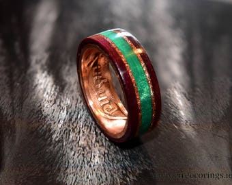 Irish coin ring with purple heart wood and emerald green inlay