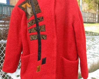 SALE 80's Vintage Women's Red Mohair Wool, Appliques of Velvet & Satin coat Lined Canada Couture Size OS XLarge. Bold statement peice