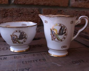 SALE Rebekah  IOOF  bone china , sugar and creamer Made in England Royal Strafford