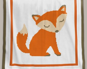 CROCHET Pattern - Baby Blanket - Fox - Crochet Graph - Fox Crochet Pattern - Afghan Crochet Pattern - Fox Crochet Graph