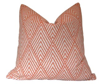 Custom Pillow Cover / Tahitian Stitch Pillow / Lacefield Designs / Tangerine / Orange Melon / Fabric Both Sides / Made to Order