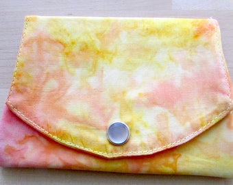 Wallet with three pockets made of yellow and orange batik fabric