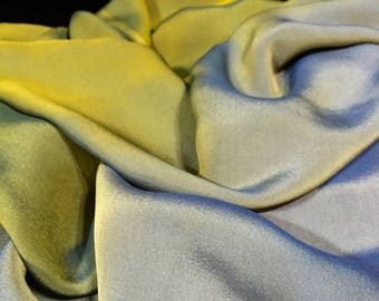 Silk Chiffon, Ombre Material, Green to Pale Blue Material, Flowy Material, Table Runner, Remnant Fabric, Liquidation Fabric