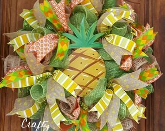 Tropical Summer Wreath Pineapple Wreath Tropical Deco Mesh Wreath