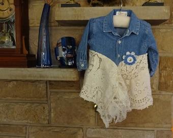 Upcycled Infant's Baby Girl Boho Funky Tunic size 12 Months