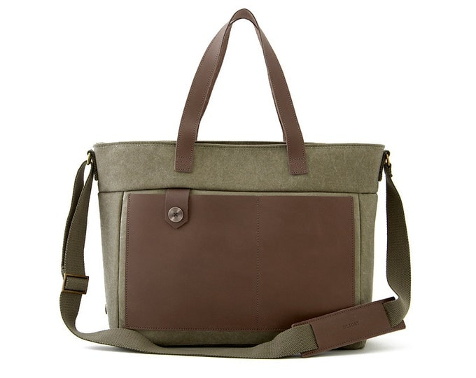"Diaper Bag / 13"" Laptop Tote Bag / Canvas Tote Bag  / Moms & Dads Diaper Tote Bag / Green Canvas / LOFT"