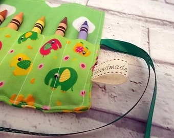 Elephant (Green) Crayon Roll, Pencil Roll, Crayon Holder, Pencil holder, Birthday Favors, Stocking Fillers