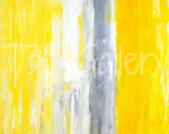 Digital Download - The Queue, Grey and Yellow Abstract Artwork