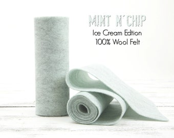 "100 Percent Wool Felt Roll - Wool Felt color MINT N CHIP - 5"" X 36"" Wool Felt - 100% Wool Felt"