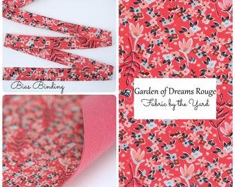 Felt Backed Fabric // Fabric Felt // Amy Simbaldi Charleston - Garden of Dreams Rouge // Fabric by the Yard // Bias Binding