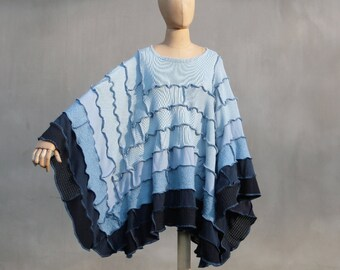 Sale, Patchwork poncho, Ombre blue, sweater poncho, Boho, upcycled sweaters, eco friendly , OOAK, hippie poncho