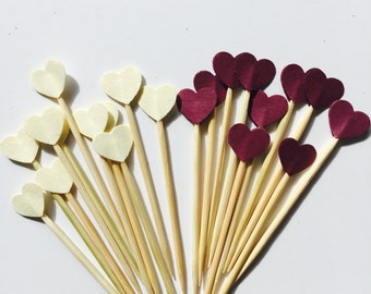 50 Pcs Mini HEART CREAM - BURGUNDY Cupcake Toppers - Birthday Party, Weddings, Bridal Showers