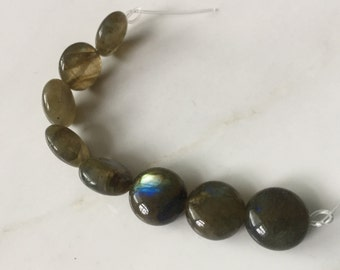 Mossy Olive Green Labradorite with Blue Flash Coin Beads, 12mm