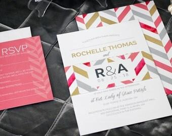 Chevron Wedding Invitations - Elegant Modern Wedding Invitations - Gold Wedding Invitations - Custom Wedding Invitations - Chevron Invites