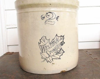 Vintage 'Western Stoneware Co.'  2 Gallon Crock - Stoneware Crock With Good Age -  '2' - 1900s  - Crock From Illinois - Western Maple Leaf