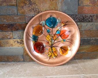 California Cloisonne copper plate - mid-century modern cloisonné plate - small cloisonné platter - 1950s copper art