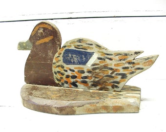 Vintage Folk Art Duck Decoy Hand Carved Painted Home Made