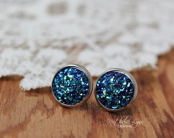 Druzy Earrings, Round Druzy Earrings, Stud Druzy Earrings, Druzy Jewelry, Gemstone Earrings, Drusy Earrings