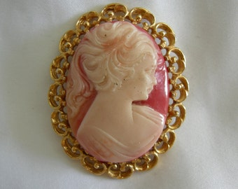 Salmon Rose Pink Cameo Brooch Pin | Vintage