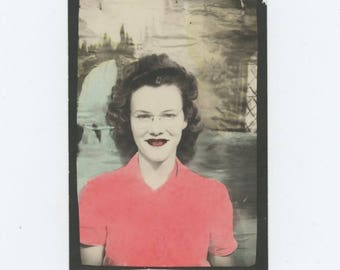 Vintage Tinted PhotoBooth Arcade Photo Enlargement, c1940s: Young Woman (74567)