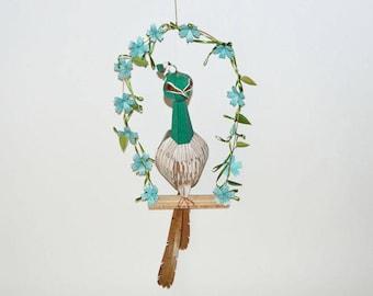 original sculpture: Peahen on a floral swing, wall art paper sculpture