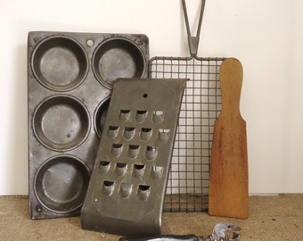 vintage kitchen ware 5 antique Grater, butter paddle, muffin tin, strainer retro kitchen collectibles, colonial home, farmhouse country prim