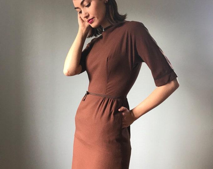 Vintage 1950s Dress Chocolate Wiggle