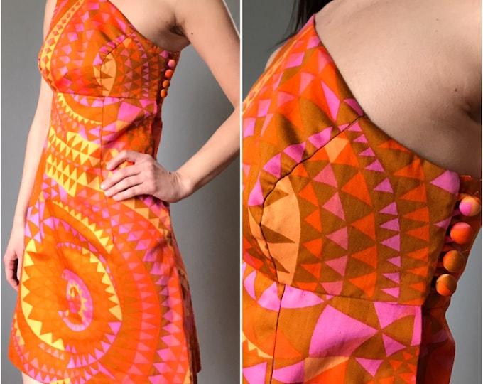 Vintage 60s Op Art Asymmetrical One Shoulder Orange Starburst Dress