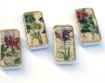 flower magnets, vintage flower garden domino magnet set, multicolored, fun gift ideas, stocking stuffer