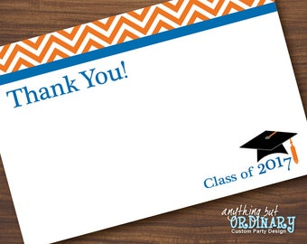 Class of 2017 Graduation Thank You Note in Blue and Orange, Flat Thank You Card, INSTANT DOWNLOAD, digital printable file