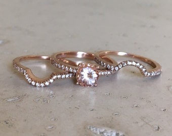 Morganite Engagement Ring Set- Morganite Engagement Ring Rose Gold- 4 Prong Alternative Bridal Set Ring- Morganite Ring Set Wedding Rings