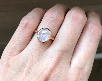 Rose Gold Moonstone Ring- Rainbow Moonstone Ring- Oval Rose Cut Ring- Solitaire June Birthstone Ring- Sterling Silver Ring- Jewelry Gifts