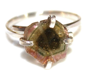 Banded Watermelon Tourmaline Ring Watermelon Ring Sterling Silver Ring Adjustable Ring Watermelon Slice Tourmaline Jewelry Delicate Ring