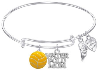 WATER POLO MOM Expandable Wire Bangle Bracelet with Water Polo Charm Jewelry For Girls, Teens, Women Gift Boxed