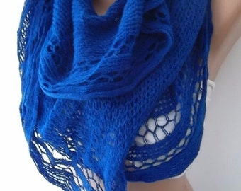 Christmas Gift Holiday Gift Scarf, Cobalt scarf-Fashion accessories-For her-Gift -Winter scarf-women scarf