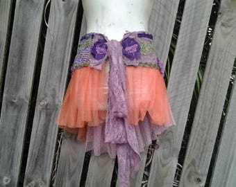 25% OFF CLEARANCE SALE funky shabby tribal cotton and lace wrap tutu/overskirt....