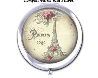 Choose French Design Compact Mirror or Pillbox with Mirror - Choose Finish Bronze Silver - Paris Eiffel Tower - Pocket Folding Mirror Gift