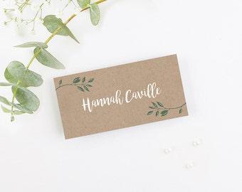 Botanical Rustic Kraft Folded Wedding Place Card