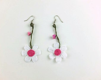 White Daisy Earrings, Dangle Flower Earrings, Crochet Earrings ,Knit Crochet Jewelry, Summer Jewelry, Turkish Oya Lace
