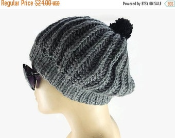 Gift For Mom Hand Knit Gray and black  Womens Beanie, Crochet Wool Hat with large pompom , Woman Accessory