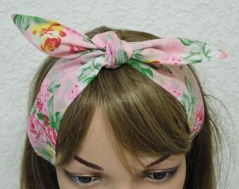 Hair scarf, pin up headband, vintage style headband, hair bandanna, tie up head scarf, rockabilly headband, hair care accessory, polycotton