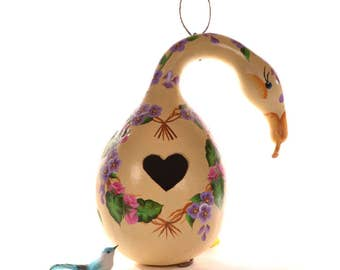 Hand Painted Gourd Goose Birdhouse with Heart Entrance and Heart Shaped Wreath and Flowers, Decorative Gourd Art